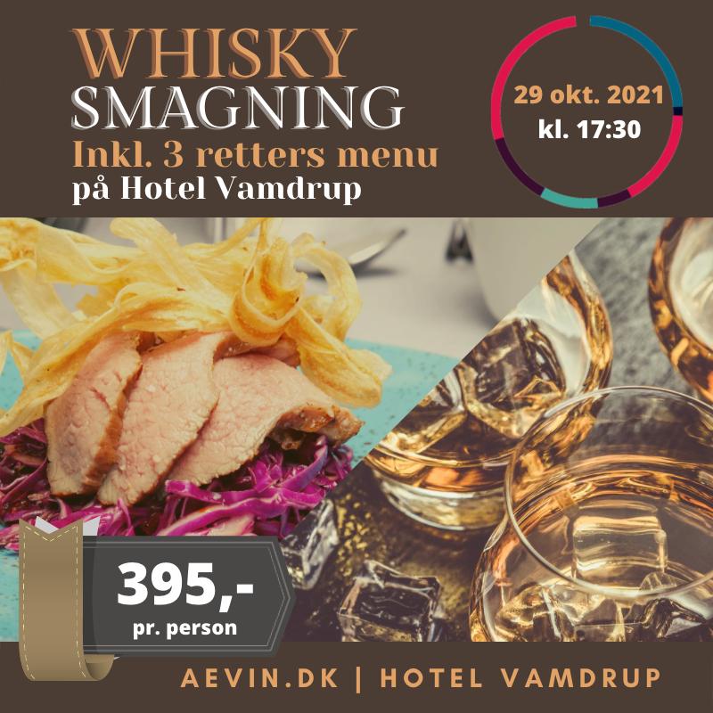 Whisky smagning og 3 retters menu fredag d. 29 oktober 2021