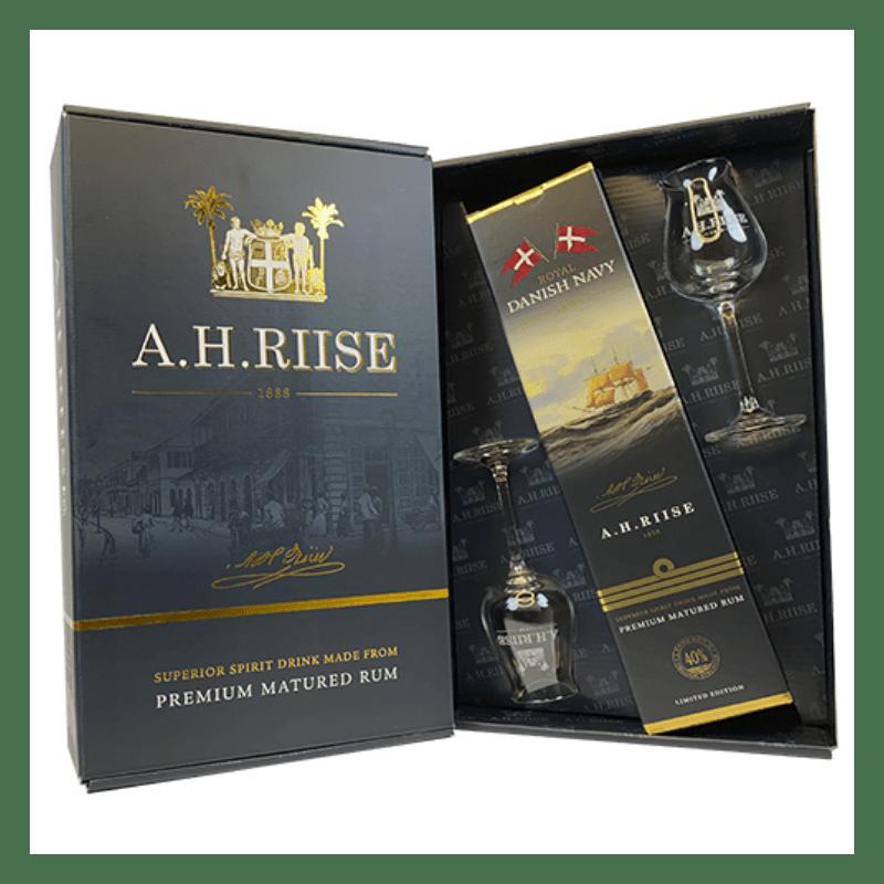 A.H. Riise gaveæske m/ Royal Danish Navy 40% og 2 originale glas -0