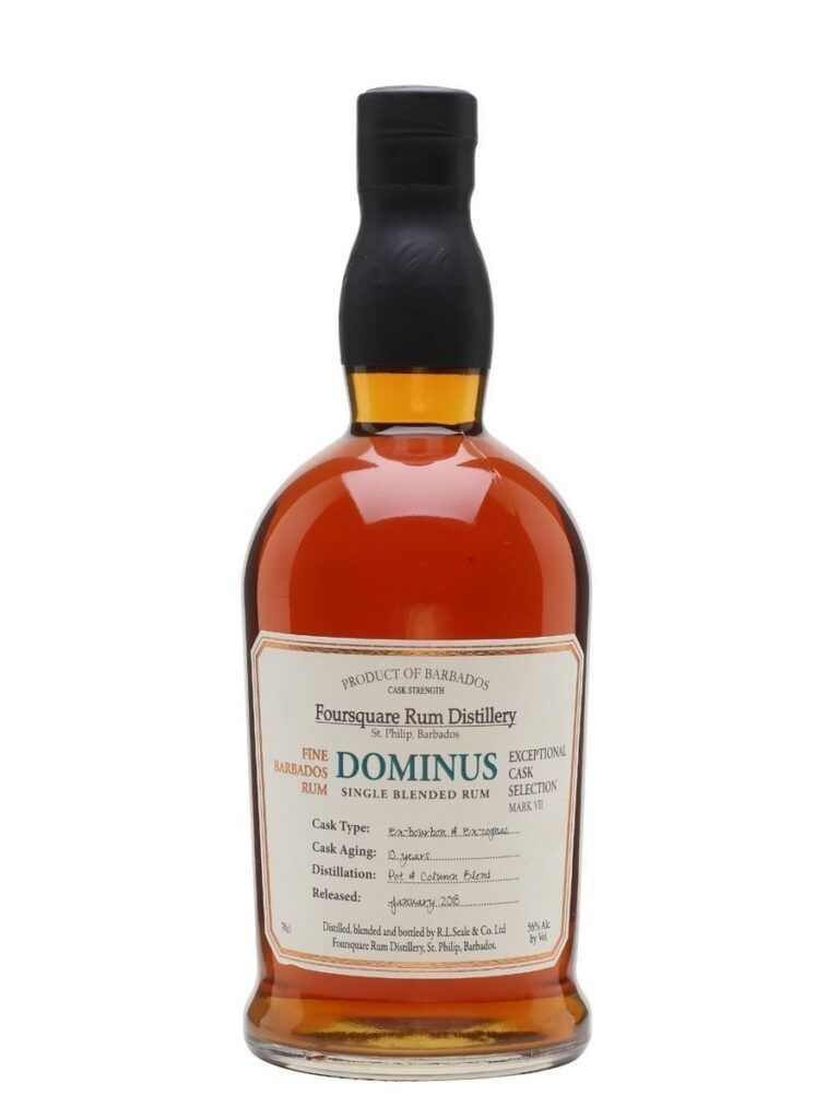 Dominus 10 Års Single Blende rom fra Bourbon- og Cognac fade.