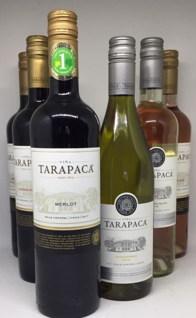 Smagekasse Tarapaca Chile 3 flasker 2 flasker hvid 1 flaske rose