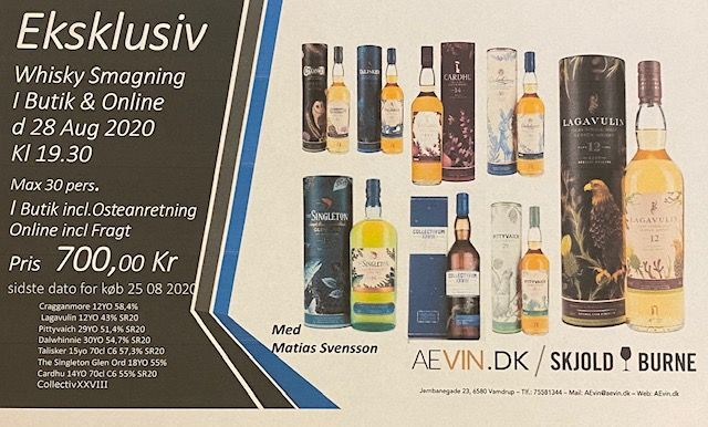 Whisky smagning 25.8.20