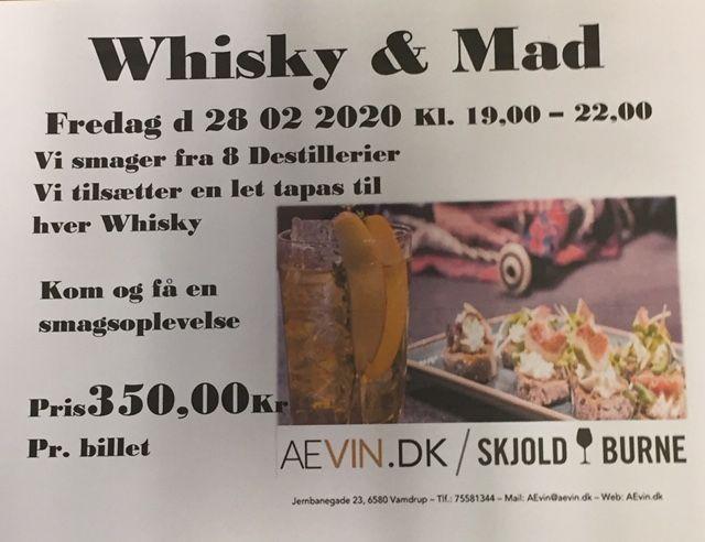 Whisky og mad smagning 28.2.2020