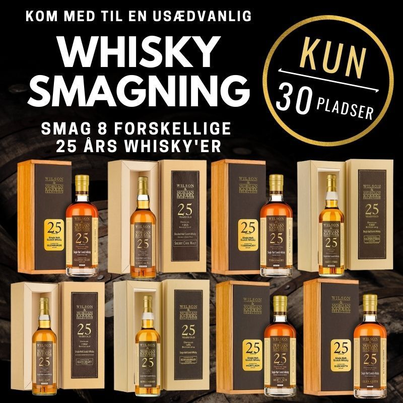 Whisky smagning 25 års Wilson & Morgan 8 destillerier